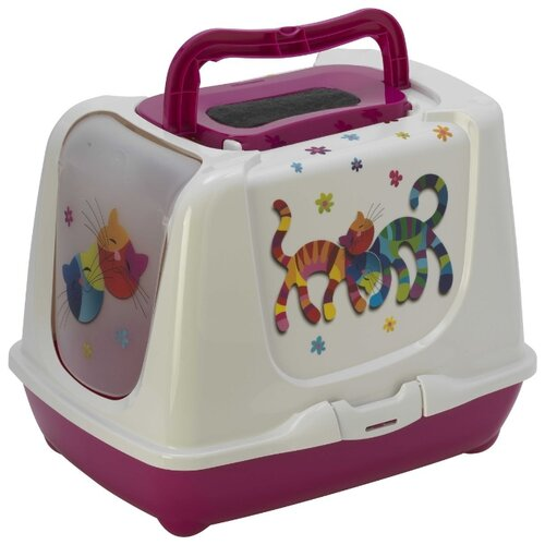 Туалет-домик для кошек Moderna Trendy Cat Friends Forever 57.4х44.8х42.7 см ярко-розовый