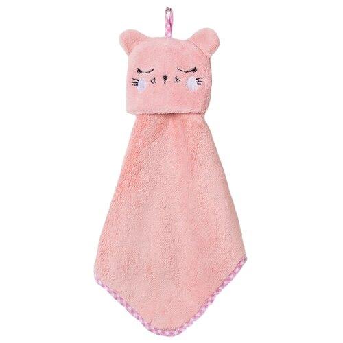 Доляна Полотенце Кошка кухонное 30х30 см розовый