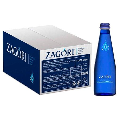 Минеральная вода Zagori газированная, стекло, 24 шт. по 0.33 л