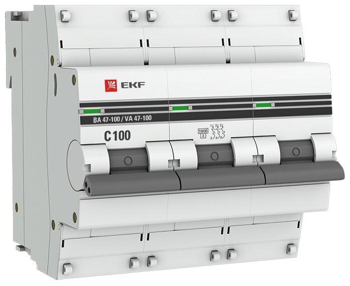 Автоматический выключатель EKF ВА 47-100 3P (C) 10kA