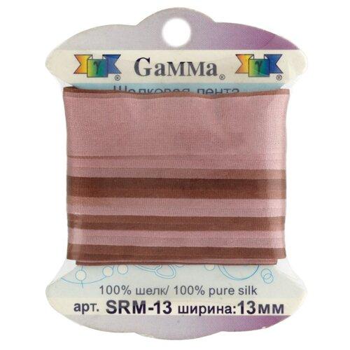 Купить Лента Gamma шелковая SRM-13 13 мм 9.1 м ±0.5 м M048 коричневый/т.коричневый, Декоративные элементы