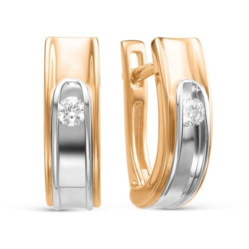 АЛЬКОР Серьги с 2 бриллиантами из красного золота 22758-100