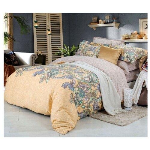 Постельное белье семейное СайлиД B-181, сатин бежевый/голубой кпб семейное голубой попугай сирень постельное белье с рисунком