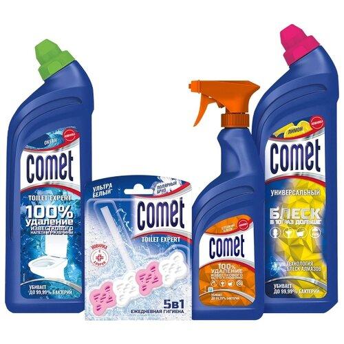 Comet Универсальный чистящий гель лимон 850 мл, гель для туалета океан 700 мл, спрей для ванной стойкий блеск 450 мл, Toilet Expert блок для туалета полярный бриз, 4 шт. недорого