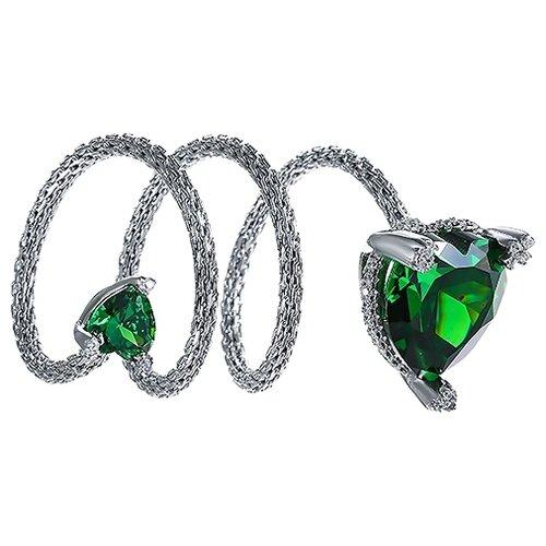 JV Кольцо с стеклом и фианитами из серебра SRT00027-KO-US-001-WG, размер 18 jv кольцо с стеклом и фианитами из серебра se2617 r ko us 001 blk размер 18