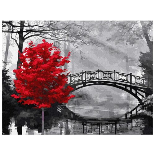 Купить Картина по номерам Molly 30х40 см Красное дерево в парке, Картины по номерам и контурам