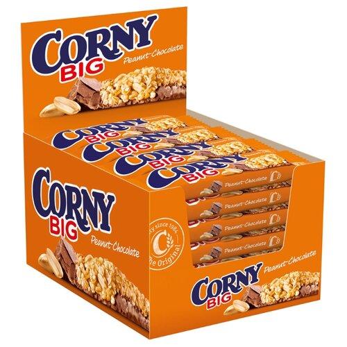 Злаковый батончик Corny Big Peanut-Chocolate с арахисом и шоколадом, 24 шт батончик злаковый poppins honey flakes bar со вкусом меда с белым шоколадом 25 г