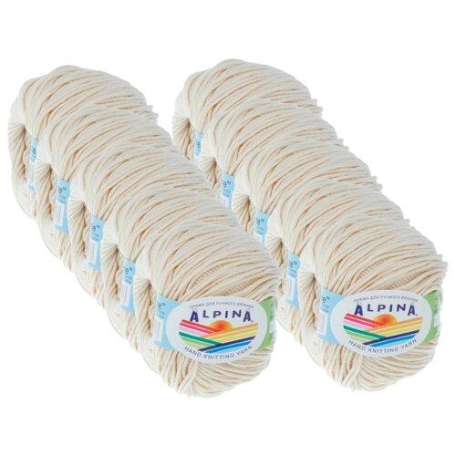 Купить Пряжа Alpina Rene, 100 % хлопок, 50 г, 105 м, 10 шт., №173 кремовый