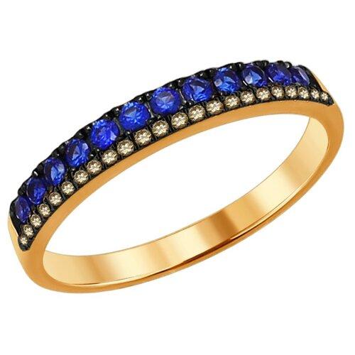 SOKOLOV Золотое кольцо с бриллиантами и сапфирами 2011064, размер 16.5 кольцо soul diamonds женское золотое кольцо с бриллиантами и сапфирами buhk 1515 14kw