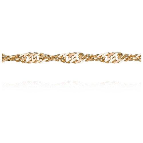 АДАМАС Цепь из желтого золота плетения Панцирь одинарный ЦП240СзА2-А53, 45 см, 4.59 г