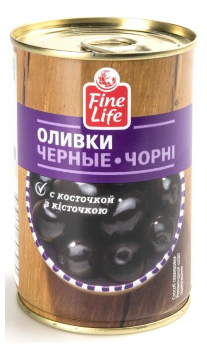 Fine Life Оливки черные с косточкой, 300 г