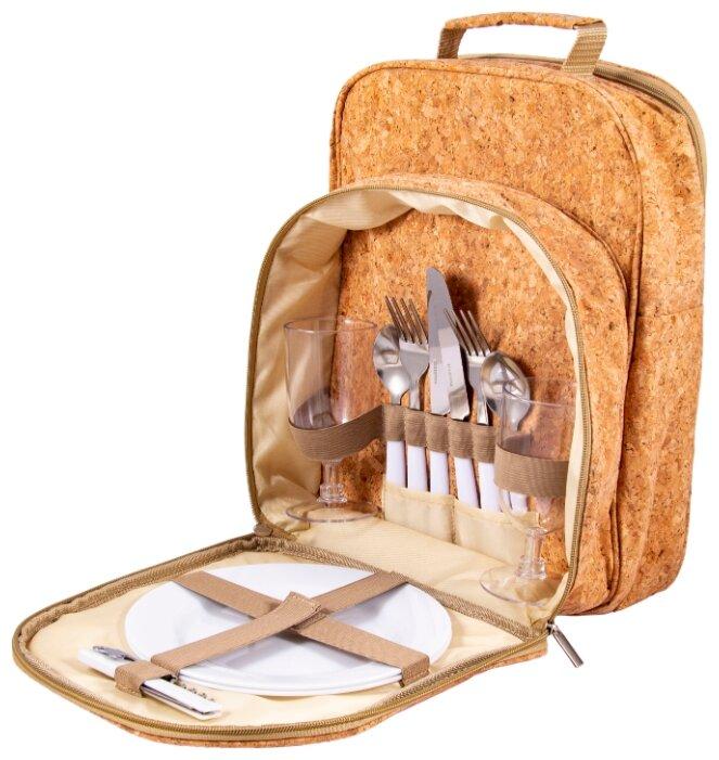 Набор для пикника на 2 персоны в рюкзаке: 2 тарелки, 2 бокала, 2 набора столовых приборов, штопор 26*17*35см 130018