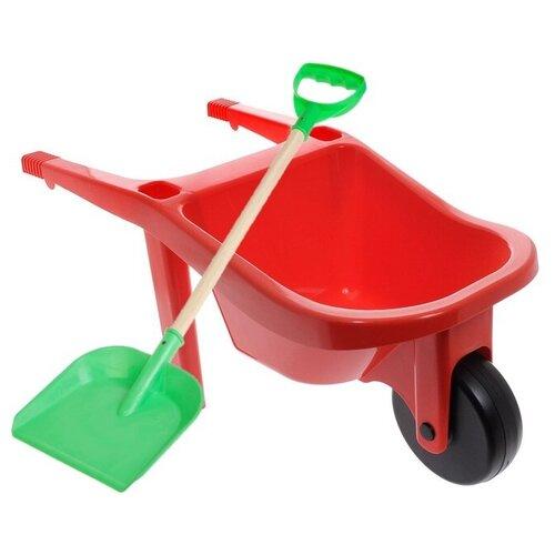 Набор ZEBRATOYS Тачка с лопатой красный/зеленый