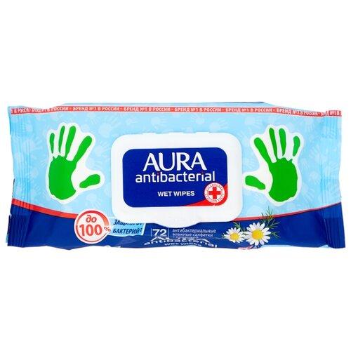 Влажные салфетки Aura антибактериальные с ромашкой, 72 шт.