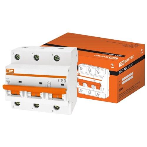 Автоматический выключатель TDM ЕLECTRIC ВА 47-100 3P (C) 10kA 80 А