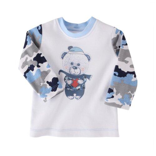 Купить Лонгслив Наша мама размер 86, белый/голубой, Футболки и рубашки