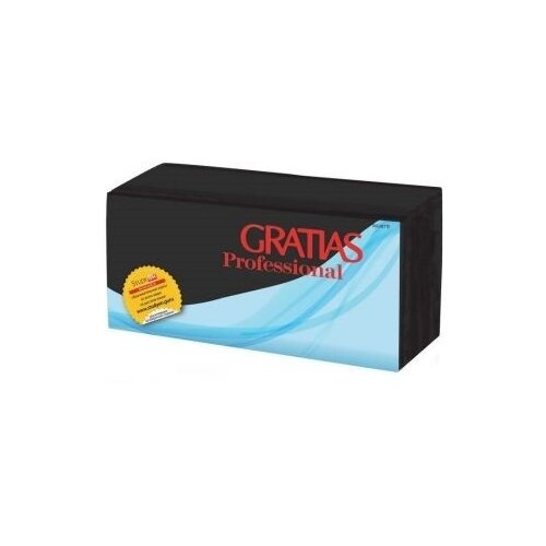 Салфетки бумажные Gratias, однослойные, черные, 24х24 см (400 штук)