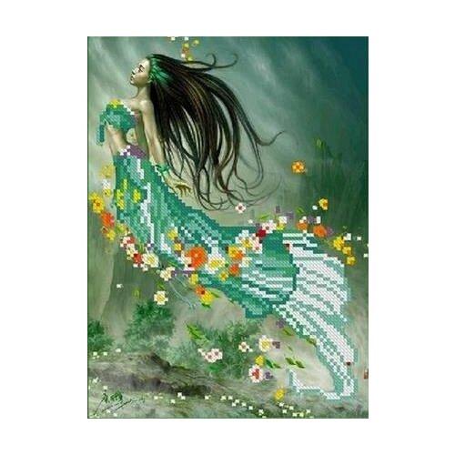 Купить Русалка Рисунок на ткани 17, 8х24, 5 Каролинка ТКБЛ 4005, Канва