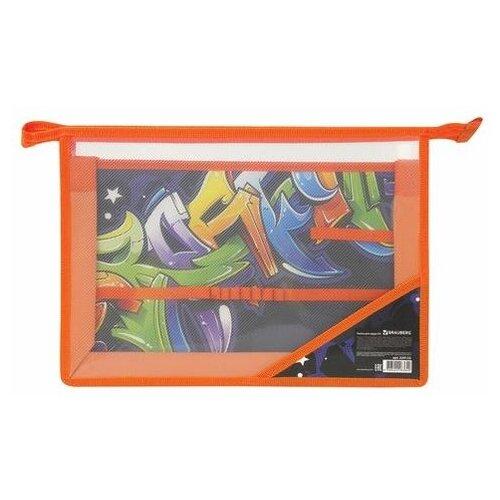 Купить Папка для труда BRAUBERG А4, 2 отделения, пластик, молния сверху, органайзер, Graffitti , 229132, Файлы и папки