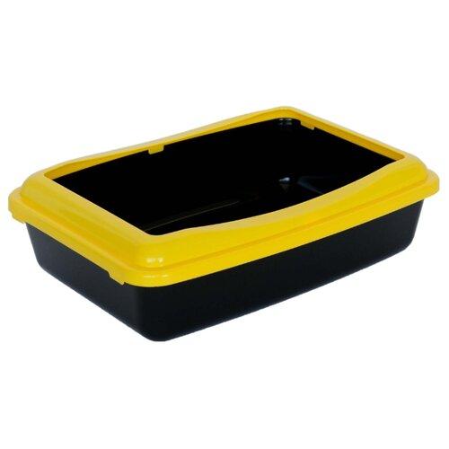 Туалет-лоток для кошек Шурум-бурум 1КУТ00049 41х30х11 см черный/желтый