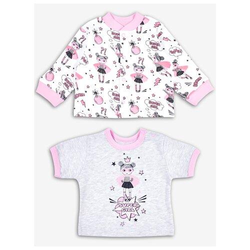 Купить Комплект одежды Веселый Малыш размер 74, серый/белый/розовый, Комплекты