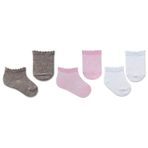 Купить Носки НАШЕ комплект из 3 пар, размер 12 (11-12), белый, серый меланж, розовая дымка