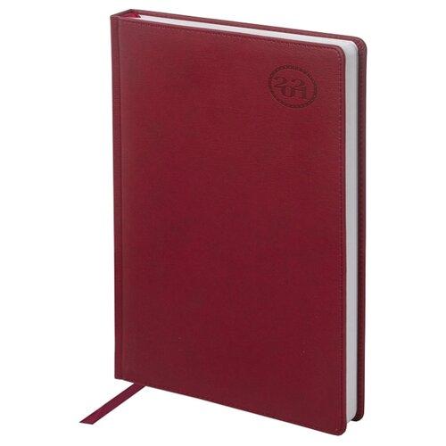 Ежедневник BRAUBERG Favorite датированный на 2021 год, искусственная кожа, А4, 168 листов, бордовый еженедельник brauberg instinct датированный на 2021 год искусственная кожа а5 64 листов красный