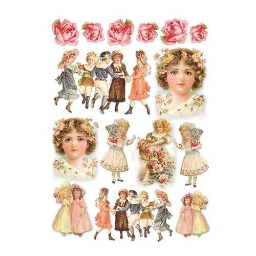 Купить Бумага рисовая мини - формат Девочки - Винтаж 21 х 29, 7 см (A4) 1 лист, Stamperia, Карты, салфетки, бумага