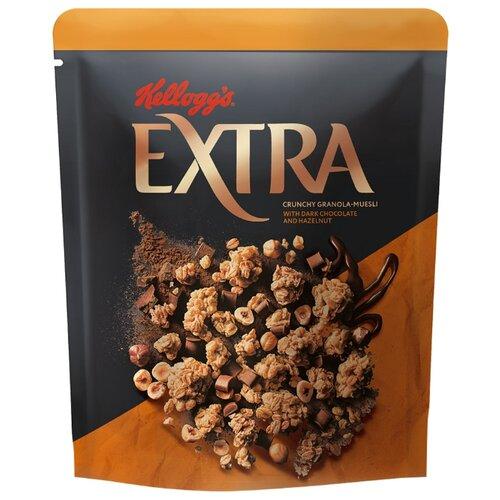 Гранола Kellogg's с темным шоколадом и фундуком, дой-пак, 300 г гранола verestovo хлопья персик клюква семена тыквы дой пак 300 г