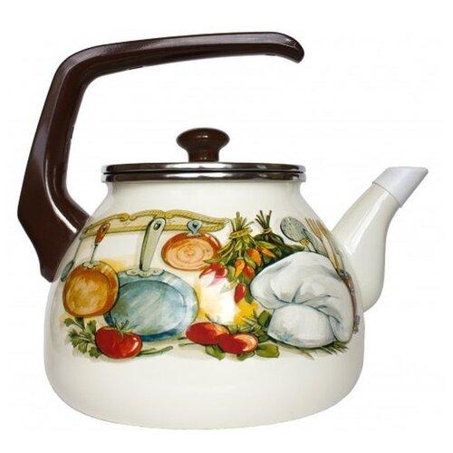 Интерос Чайник Кухня 15156, 3 л, белый/коричневый
