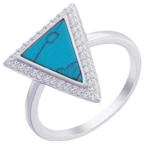 ELEMENT47 Кольцо из серебра 925 пробы с бирюзой искусственной и кубическим цирконием MT1363-R1109A0YS_KO_TQ_001_WG, размер 18