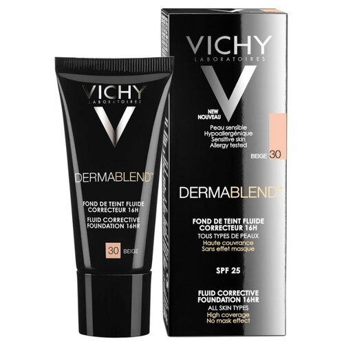 Vichy Тональный флюид Dermablend, 30 мл, оттенок: 30 Beige консилер dermablend cosmetique corrective от vichy