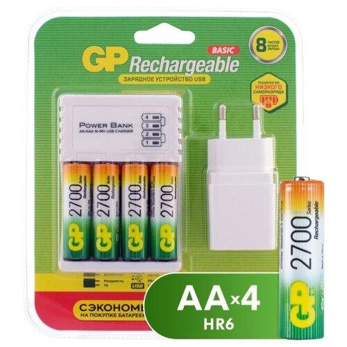 Фото - Аккумулятор Ni-Mh 2700 мА·ч GP Rechargeable 2700 Series AA + Зарядное устройство USB CPB + Адаптер 1A 4 шт блистер casio bgs 100gs 1a