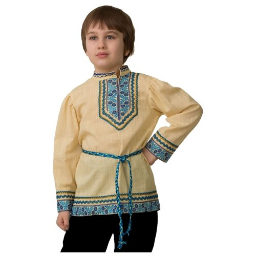 Купить Рубашка Батик Jeanees вышиванка (5605-1), молочно-голубой, размер 146, Карнавальные костюмы
