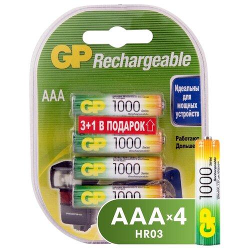 Фото - Аккумулятор Ni-Mh 950 мА·ч GP Rechargeable 1000 Series AAA 4 шт блистер аккумулятор ni mh 1000 ма·ч gp rechargeable 1000 series aaa usb светильник 4 шт блистер