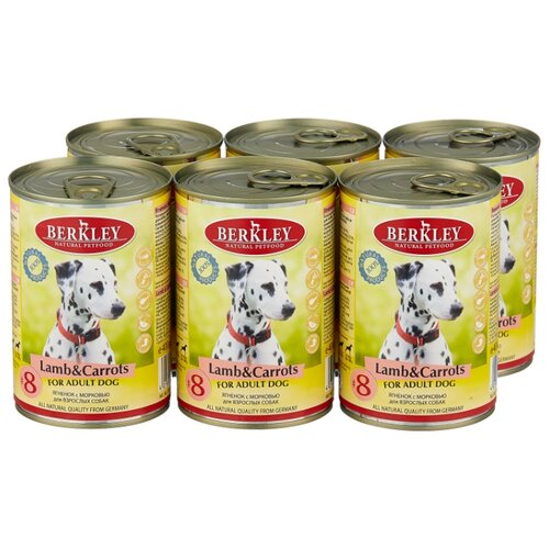 Фото - Влажный корм для собак Berkley (0.4 кг) 6 шт. Паштет для собак. Ягненок с морковью 6шт. х 400г влажный корм для собак berkley 0 4 кг 6 шт паштет для собак оленина с коричневым рисом 6шт х 400г