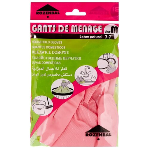 Перчатки ROZENBAL для дома тонкие, 1 пара, размер M, цвет розовый