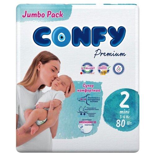 Купить CONFY подгузники Premium 2 (3-6 кг) 80 шт., Подгузники