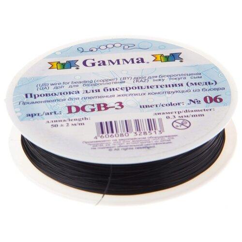 Купить Проволока для бисера Gamma , металл (цвет: черный), арт. DGB-3 06, 0, 3 мм x 50±2 м, Фурнитура для украшений