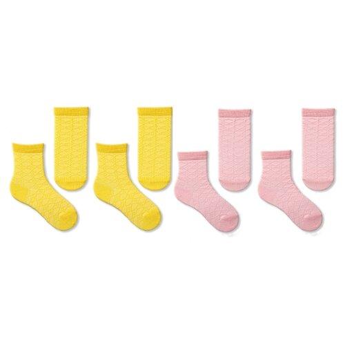 Купить Носки НАШЕ комплект 4 пары размер 22 (20-22), розовая дымка/желтый