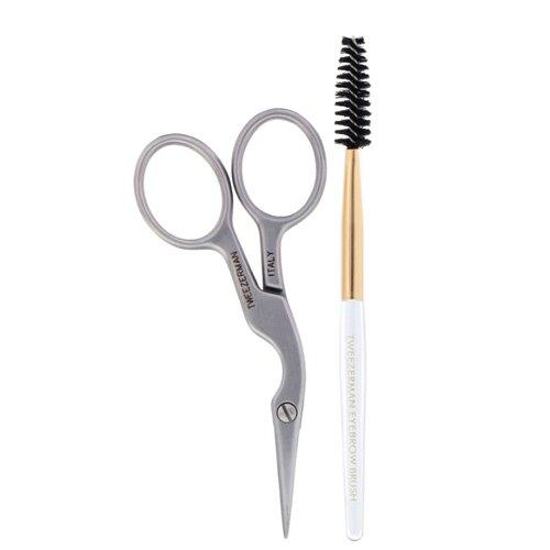 Набор инструментов Tweezerman Brow Shaping Scissors & Brush для бровей серебристый
