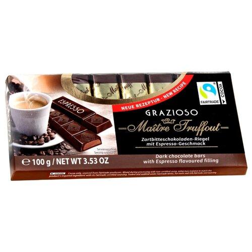 Шоколад Maitre Truffout Grazioso темный с начинкой со вкусом эспрессо, порционный, 100 г недорого