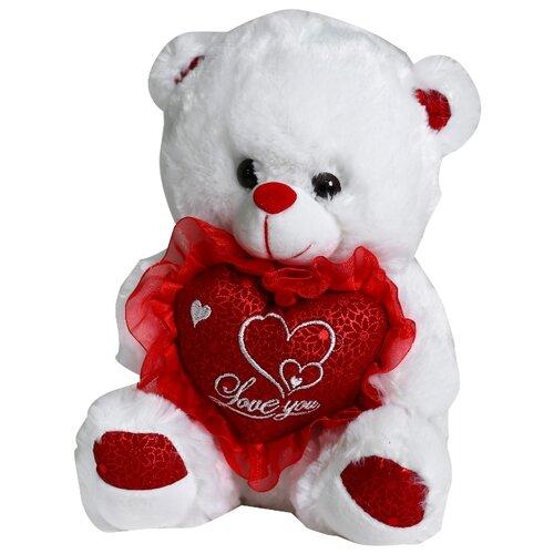 Купить Мягкая игрушка Мишка с сердцем 30 см, цвет красный 4471243, Сима-ленд, Мягкие игрушки