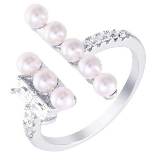 JV Кольцо с жемчугом и фианитами из серебра OL01366E-KO-WM-001-WG, размер 16.5 фото