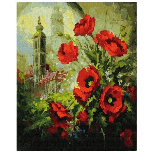 Купить Картина по номерам Molly 40х50 см Маки на фоне собора, Картины по номерам и контурам