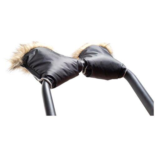Купить Рукавицы на ручку коляски с меховой опушкой (варежки), черный, Teggy, Аксессуары для колясок и автокресел