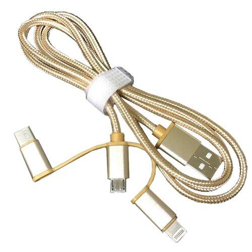 Купить Переходник ESPADA 3 в 1 USB 2.0 - Lightning + microUSB + USB type C (Eusb3in1m-m) 1 м золотой