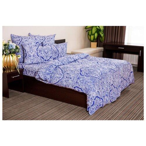 Постельное белье 2-спальное с евро простыней Ночь Нежна Таксим 50х70 см, поплин синий текстовыделитель 1546 синий