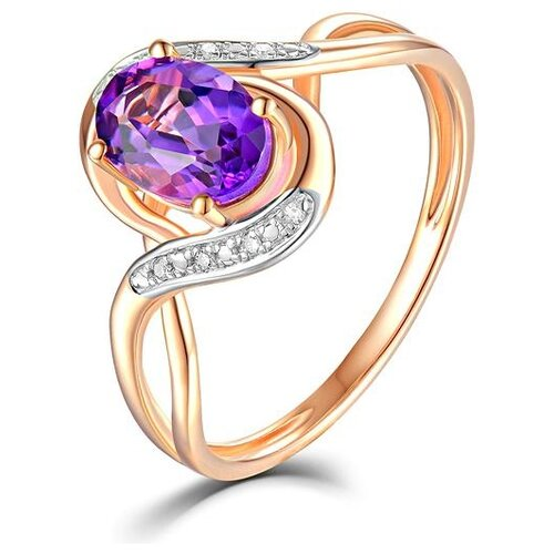 ЛУКАС Кольцо с аметистом и бриллиантами из красного золота R01-D-69025R002-R17, размер 17.5 кольцо из золота r01 d 68997r001 r