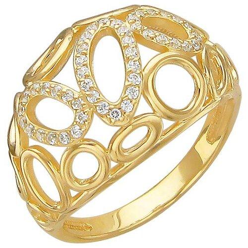 Эстет Кольцо с 45 фианитами из жёлтого золота 01К136408, размер 17